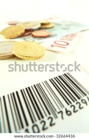 Barecode and money - stock photo