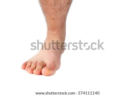 barefoot of a man running in the white