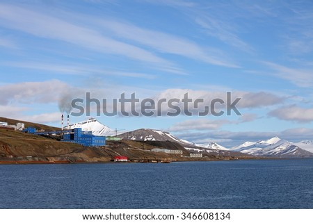 Barentsburg a Russian coal mining village in Svalbard - stock photo
