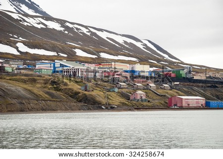 Barentsburg from the sea, Russian settlement in Svalbard, Norway
