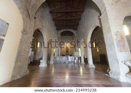 BARGA, ITALY - JULY 5, 2014: Duomo of Barga (Lucca Tuscany Italy): inteerior of the medieval church