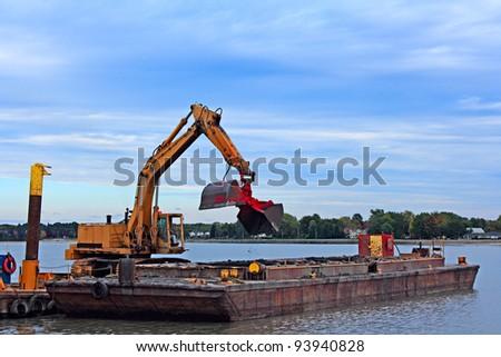 Barge Dredging Lake Erie - stock photo