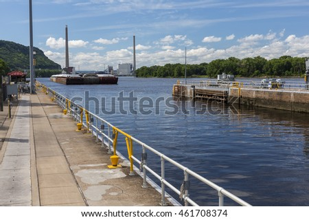 Barge Entering Lock and Dam