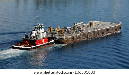 Barge moving in the waterways of Miami, Florida - stock photo
