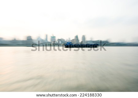 Barge on river - stock photo