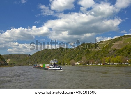 Barge with cargo sailing on the Rhine, Germany - stock photo