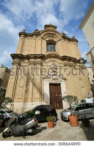 BARI, ITALY - MARCH 16, 2015: Baroque Church in the center of Bari, Italy