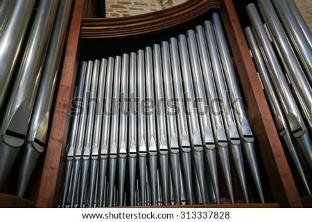 BARI, ITALY - MARCH 16, 2015: Organ in the Basilica of Saint Nicholas, a church dedicated to Saint Nicholas of Smyrna, a famous pilgrimage site in Bari, Puglia, Southern Italy - stock photo