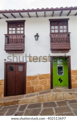 BARICHARA, COLOMBIA - SEPTEMBER 17, 2015: Building of Servibanca bank in Barichara village, Colombia