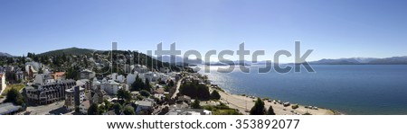 BARILOCHE, ARGENTINA, FEB 8: Panoramic View on Bariloche and the Lake with blue sky - Patagonia. Argentina 2006