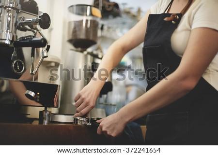 Barista Cafe Making Coffee Preparation Service Concept - stock photo