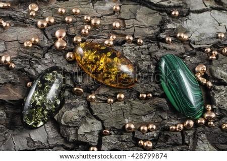 bark malachite amber gold - stock photo