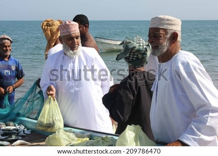Barka, Oman, October 20, 2013: Daily Fish market in Barka, Oman, were fresh seafood is sold everyday. Fishermen sell fresh fish directly from their boats