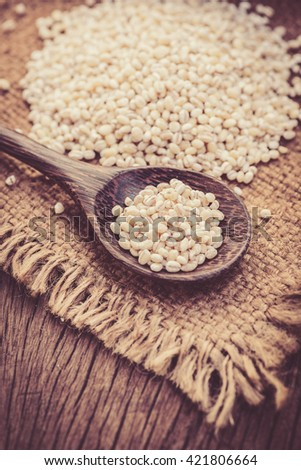 barley beans in wood spoon on sack background