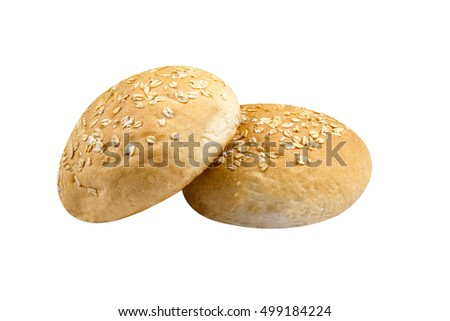 barley bun bread on isolated background
