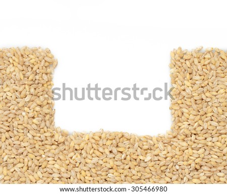 Barley cereal. Barley grits for background, frame and texture. Top view. - stock photo