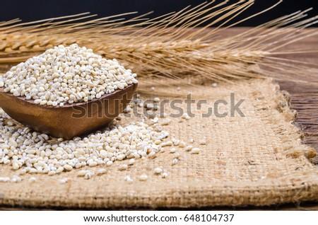Barley Grain In Wooden Bowl On Sackcloth Barley Grain Is Raw Material Of Bread