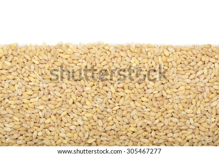 Barley grits for background and texture. Barley cereal. Top view.