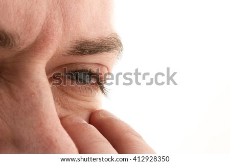barley in the eye, Mabait, redness century Caucasian man on white background