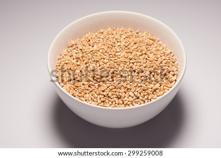 Barley in white ceramic bowl on white background - stock photo