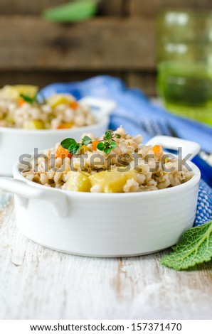 Barley stew with vegetables - stock photo