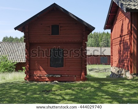 Barn and environment in a midsummer day - stock photo