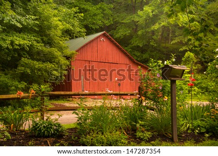 Barn at Clear Creek Metro Park in Ohio - stock photo