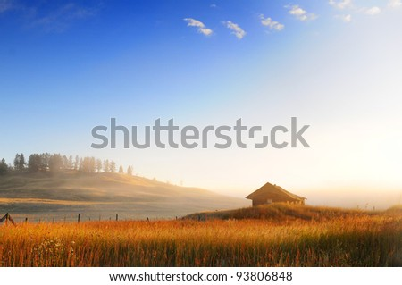 Barn at dawn - 100 Mile House, Canada - stock photo