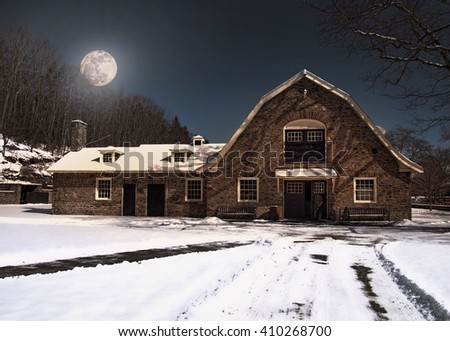 barn at night in the wintertime