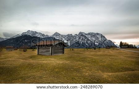 Barn in Alps near Kruen, Buckelwiesen, Germany - stock photo