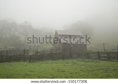 Barn in Fog - stock photo