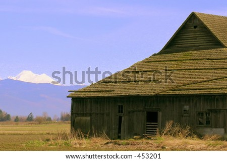 Barn, rustic, with mountain in background