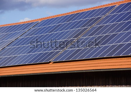 Barn with photovoltaic cells on the roof