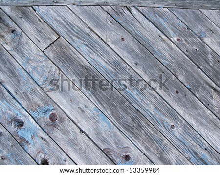 barn wood with light blue paint - stock photo