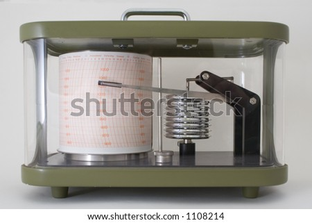 Barograph in green metal and glass case. - stock photo
