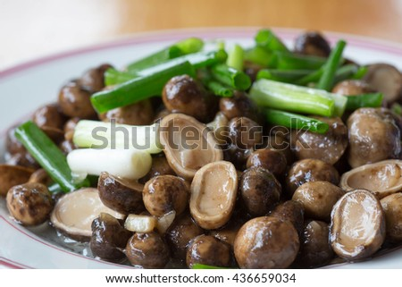 Barometer Earthstars, Mushroom fried strew with green shallot