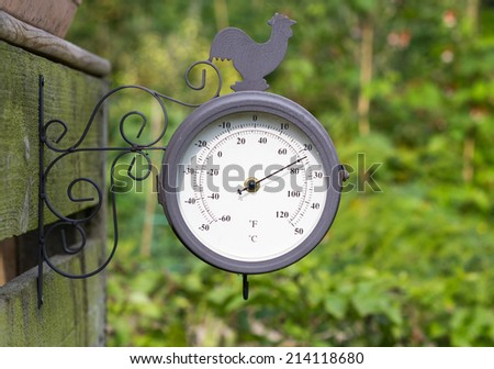Barometer in a garden or allotment - stock photo