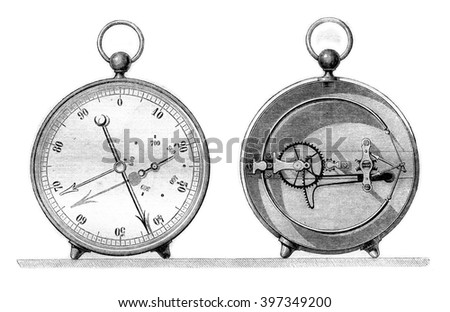 Barometer offset metal to the heights of 6000 meters, Exterior and interior, vintage engraved illustration. Magasin Pittoresque 1870. - stock photo