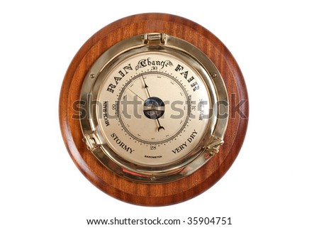 Barometer showing rainy weather isolated on white