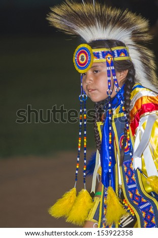 BARONA , CALIFORNIA - AUG 31:Native American boy takes part at the Barona 43rd Annual Barona Powwow in California on August 31 2013 ,Pow wow is native American cultural gathernig event. - stock photo