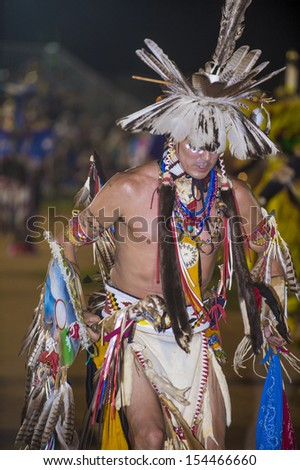 BARONA , CALIFORNIA - AUG 31:Native American man takes part at the Barona 43rd Annual Barona Powwow in California on August 31 2013 ,Pow wow is native American cultural gathernig event.