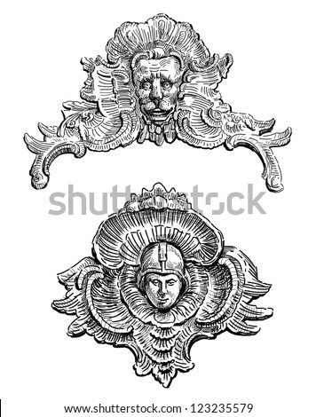 Baroque architectural elements stock illustration for Baroque architecture elements