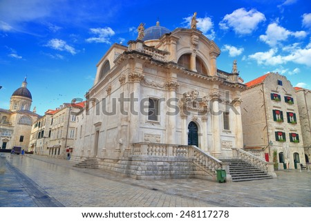 Baroque architecture of beautiful churches inside the old town Dubrovnik, Croatia - stock photo