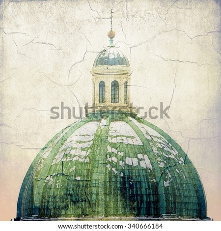 Baroque cathedral. Detail of the cupola. Brescia - Italy. Called the New Cathedral or the Cathedral of Santa Maria Assunta or Summer Cathedral. 17th century. Vintage style. - stock photo
