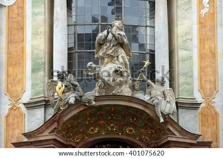 Baroque Catholic Church of St. Johann Nepomuk, better known as the Asam Church, built from 1733 to 1746 in Munich, Germany - stock photo