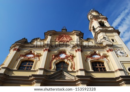 Baroque church facade on blue sky, Crema town, Lombardy, Italy - stock photo