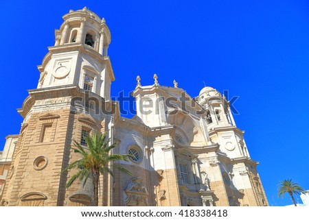Baroque facade of the building of Cadiz Cathedral in Cadiz, Andalusia, Spain - stock photo