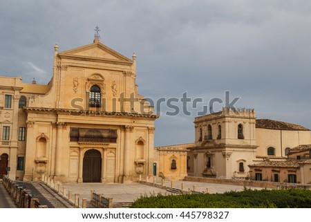 Baroque facades of the buildings in the historic part of Noto, Sicily island, Italy
