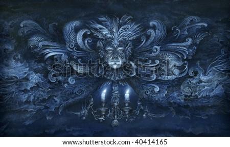 Baroque fantasy. Acrylic on paper. - stock photo