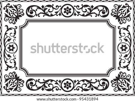 Baroque Frame Black White Stock Illustration 95431894 - Shutterstock
